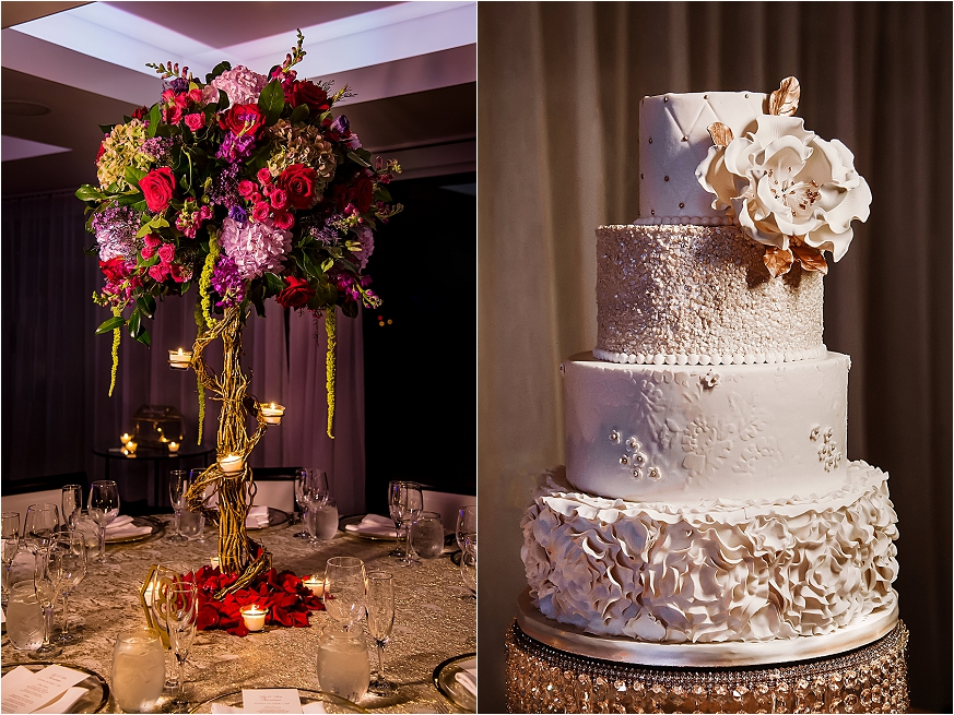 Wedding at Harbor Club at Prime - Wedding reception - cake and flowers - Long Island Wedding Photographer