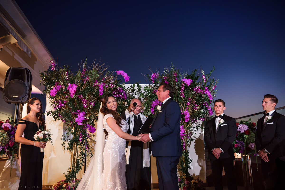 Wedding at Harbor Club at Prime - Outdoor wedding ceremony at sunset - Long Island Wedding Photographer