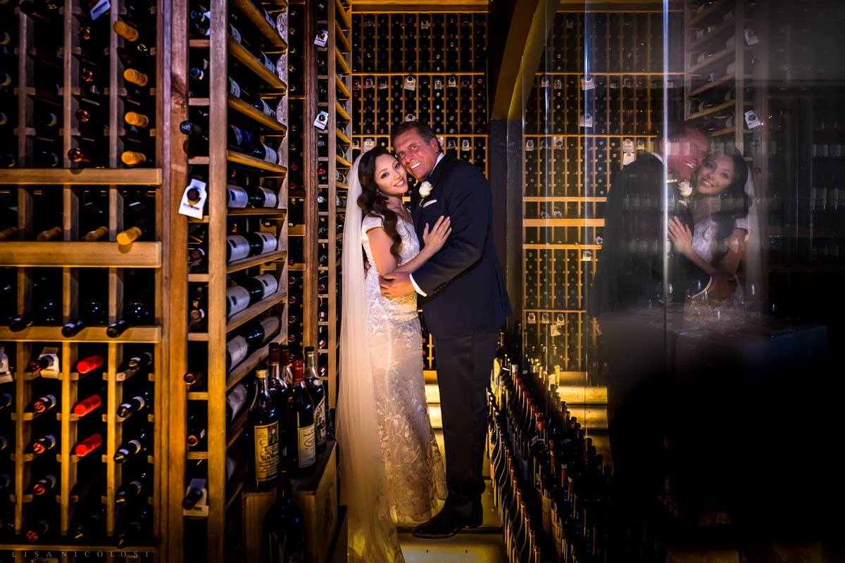 Wedding at Harbor Club at Prime - Bride and groom portrait in wine cellar - Long Island Wedding Photographer