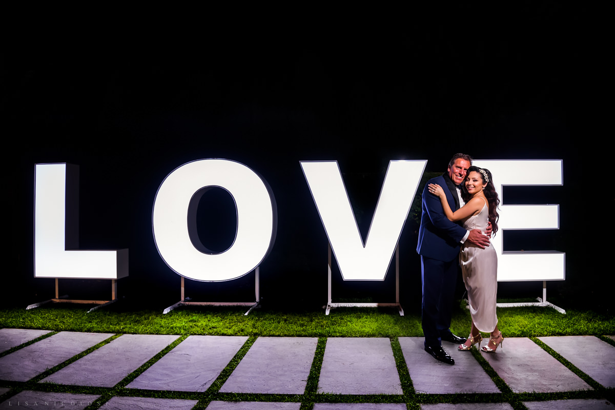 Wedding at Harbor Club at Prime - Bride and groom night portrait - Long Island Wedding Photographer