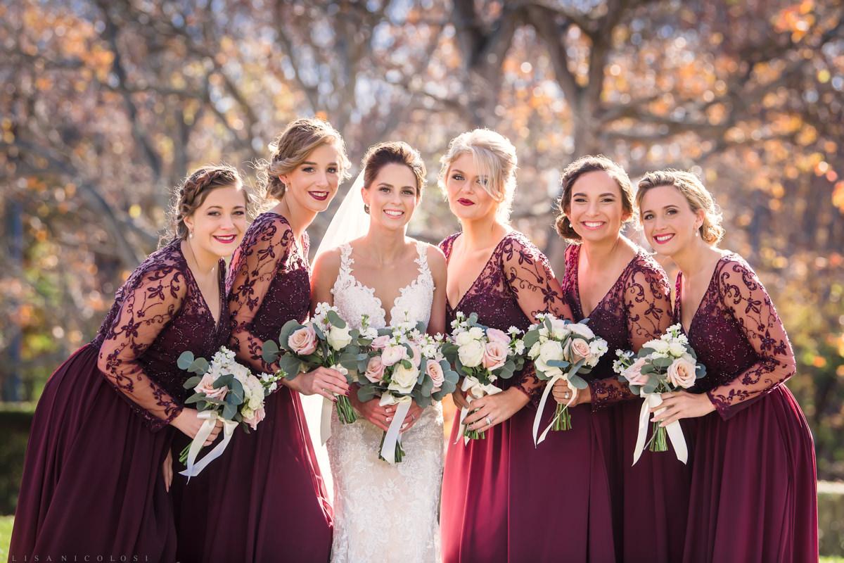 Brecknock Hall Wedding Photography - Bride and Bridesmaids portrait - Greenport NY wedding photographer