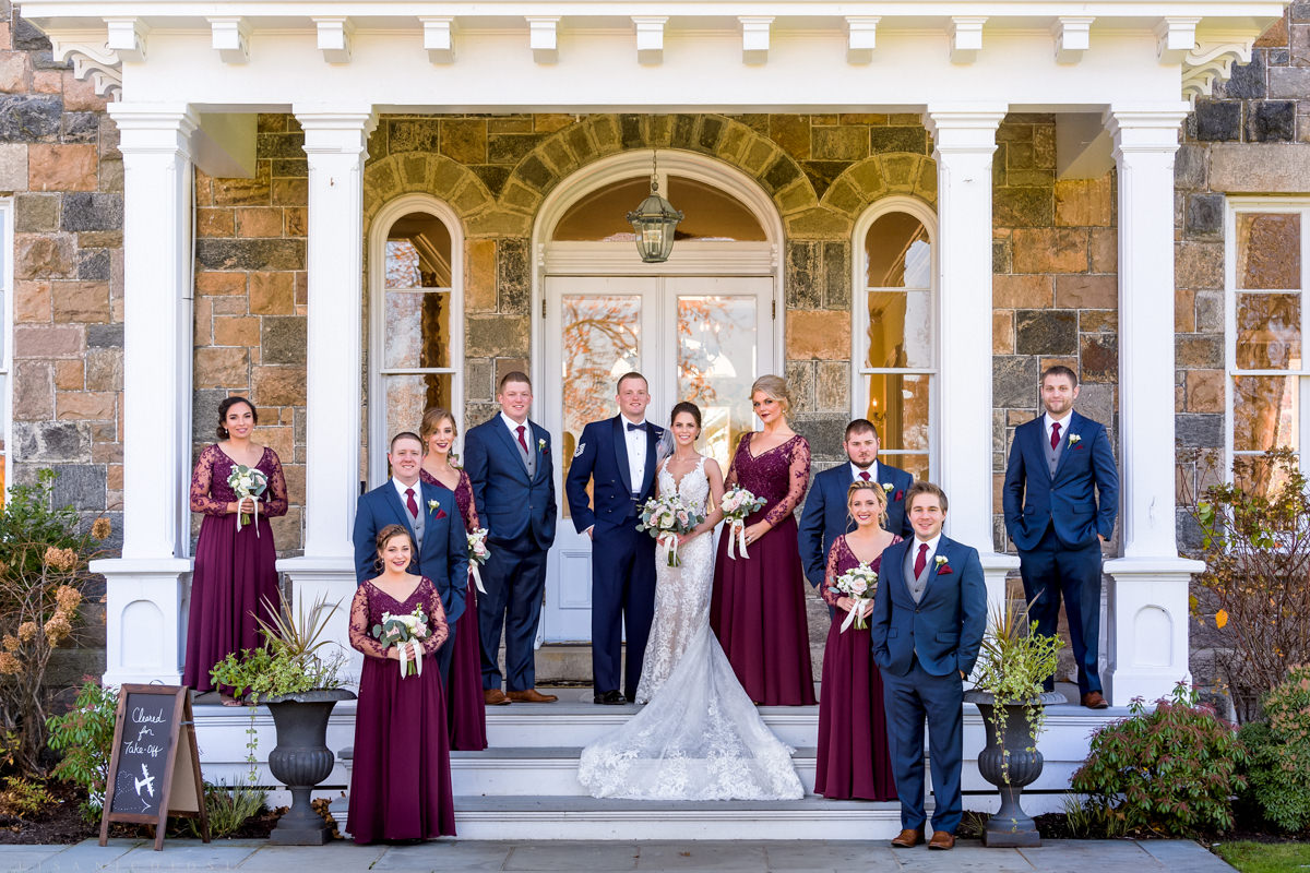 Brecknock Hall Wedding Photography - Bride and Groom with bridal party portrait - Greenport NY wedding