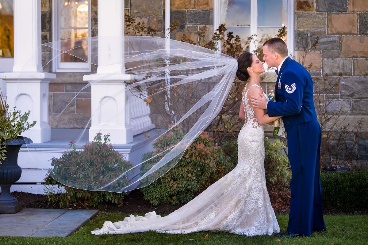 Brecknock Hall Wedding - Bride and Groom Romantic first look - North Fork Wedding Photographers