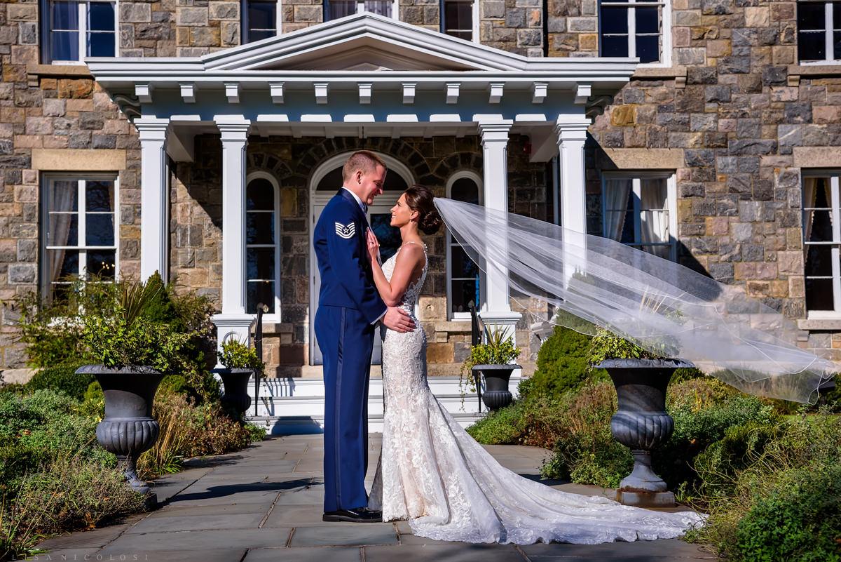 Brecknock Hall Wedding Photography - Bride and Groom portrait - Greenport NY wedding