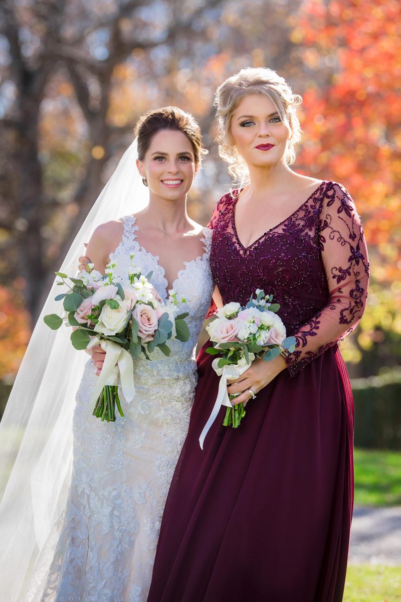 Brecknock Hall Wedding Photography - Bride and Maid of Honor - Greenport NY wedding