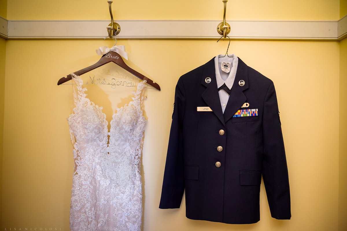 Military Wedding at Brecknock Hall - Wedding Gown and Airforce Uniform