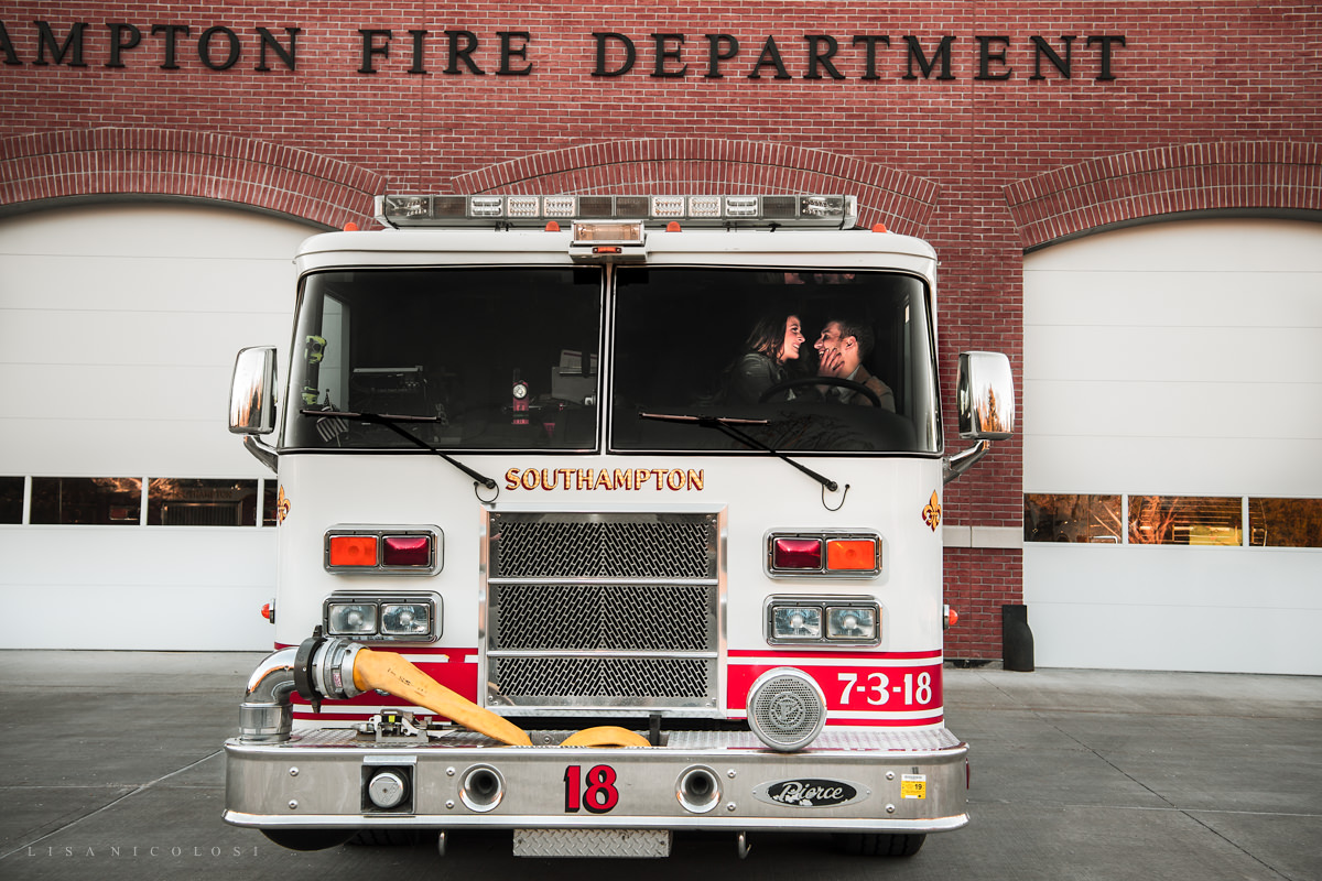 Engagement photos at Southampton Firehouse
