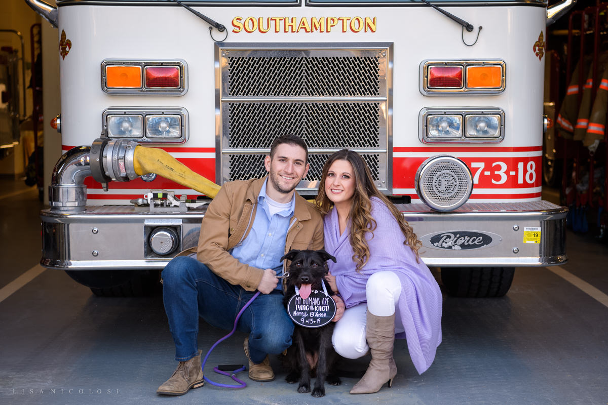 Southampton couple with puppy at engagement session
