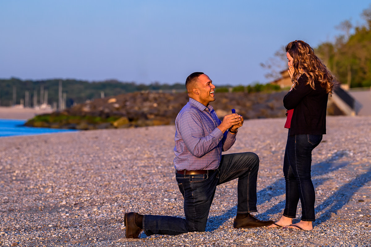 Long Island Proposal Photographer - Groom gets down on his knee to pop the question
