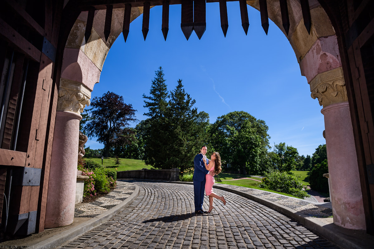 Long Island engagement at The Vanderbilt Museum - Couple in the Courtyard