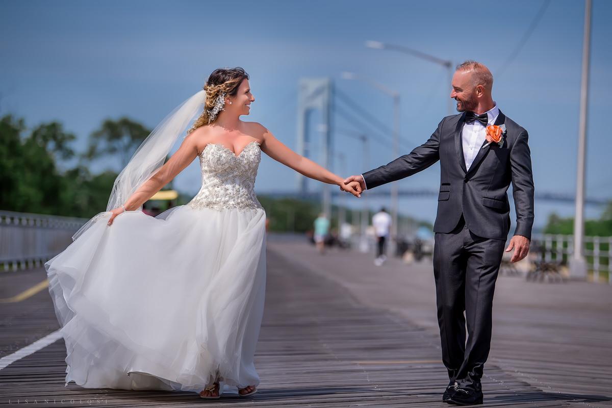 Staten Island Wedding Photographer -Bride and Groom at South Beach boardwalk - Verrazzano Bridge