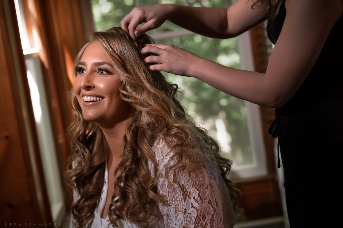 Bride getting ready at Pridwin Hotel Cabin on Shelter Island
