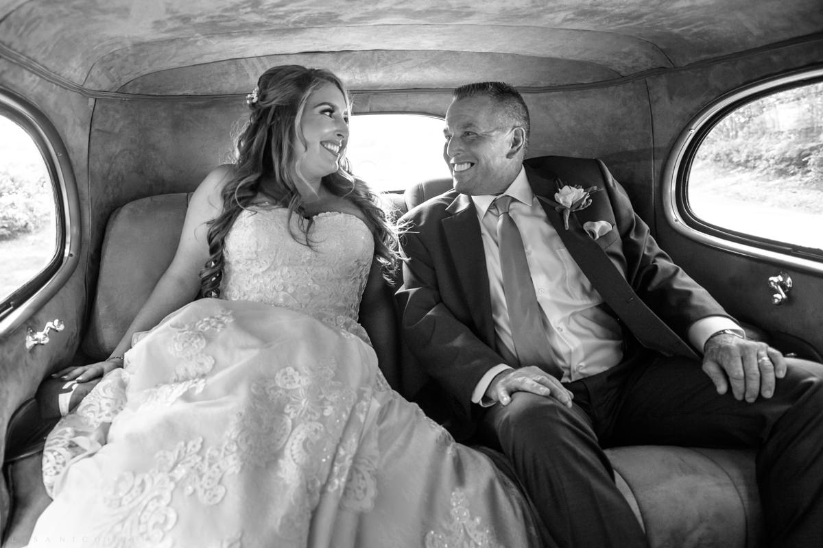 Shelter Island Wedding at The Pridwin - Bride and Dad in Packard