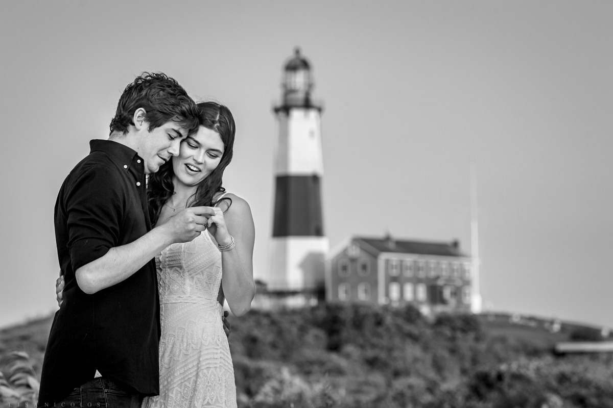 Long Island surprise proposal photographer - couple admiring ring
