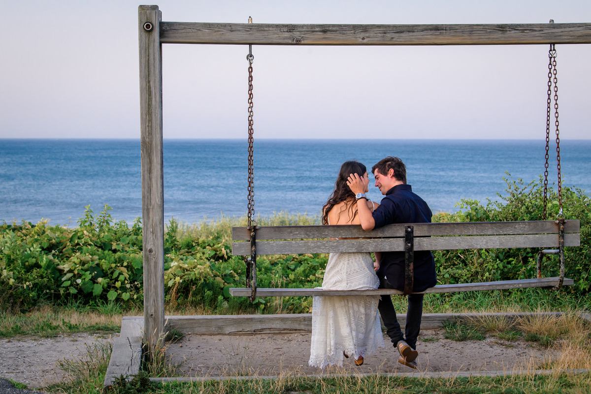 Montauk Lighthouse Engagement Photos by swing
