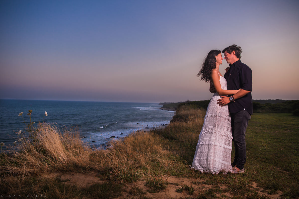 Montauk Camp Hero State Park Engagement Photos of Bride and Groom to be on bluffs