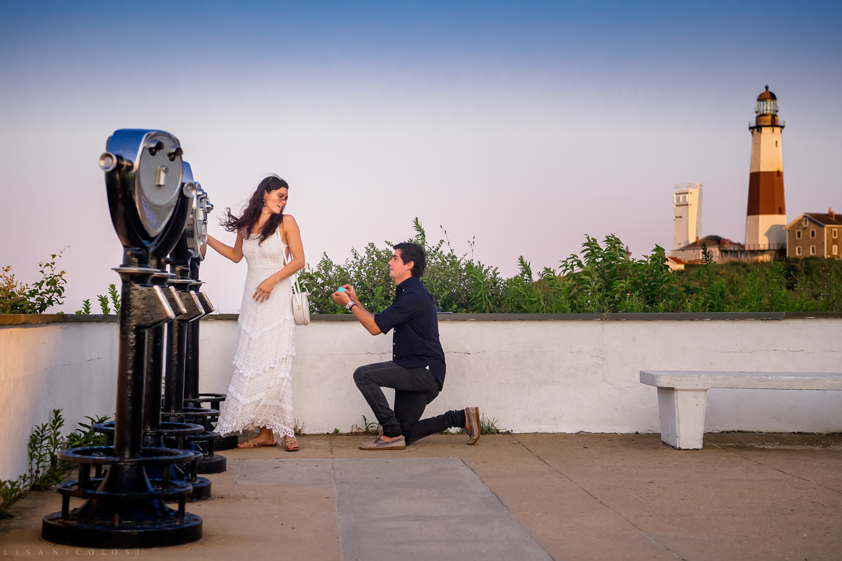 Groom proposing on bended knee to girlfriend in Montauk - Long Island Proposal Photographer