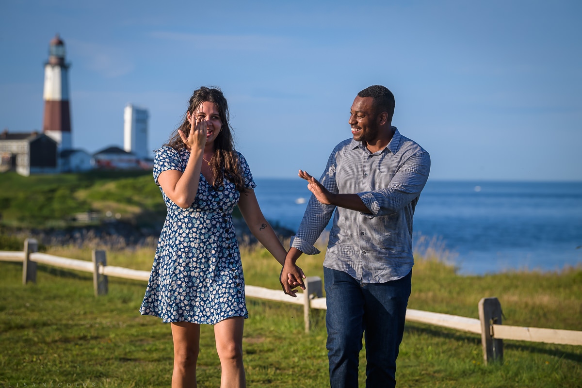 Couple walking and having an emotional moment after surprise proposal