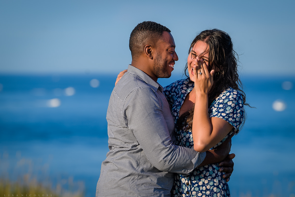 Bride to be crying tears of joy after her Montauk surprise proposal