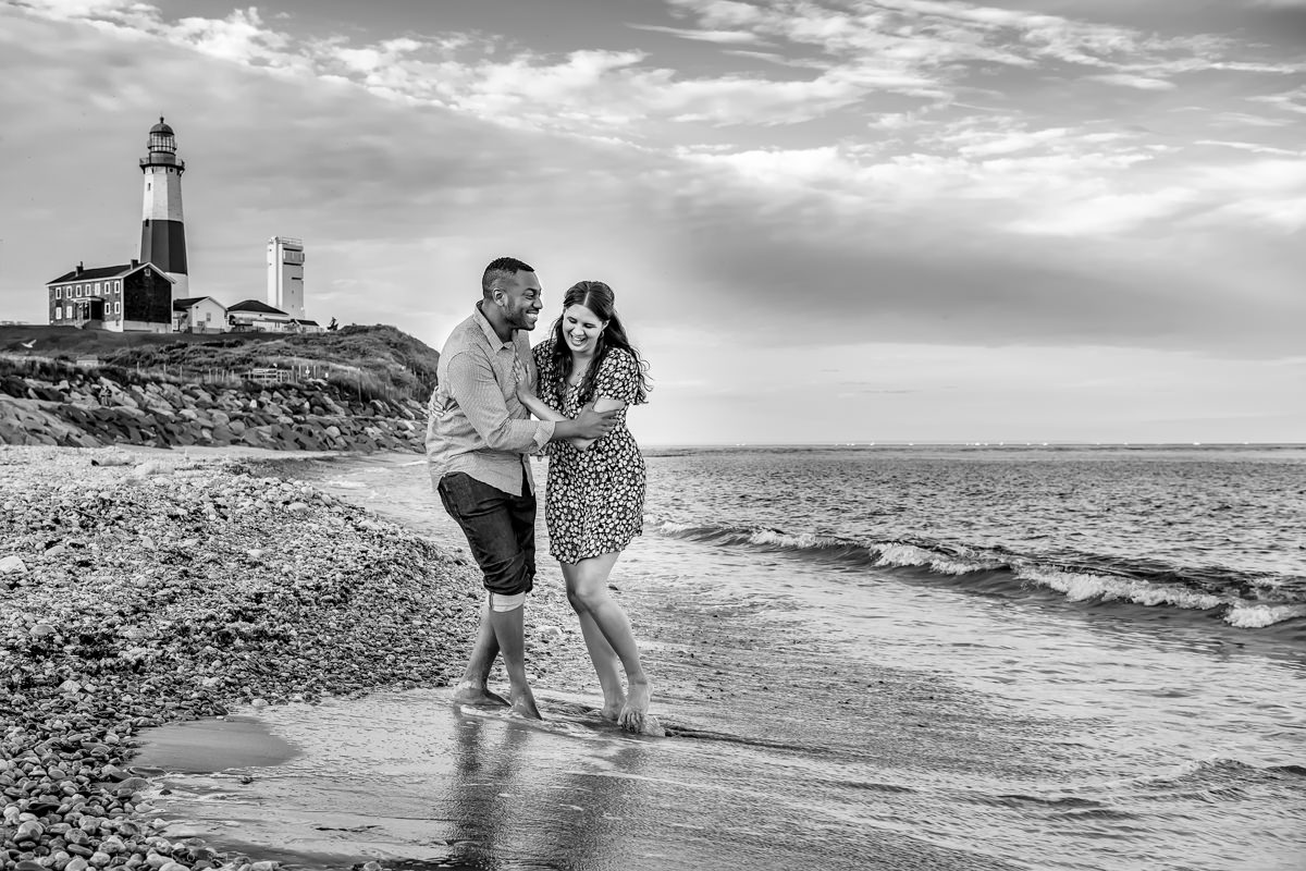 Fun Montauk Wedding Photographer. Natural Engagement Photos.