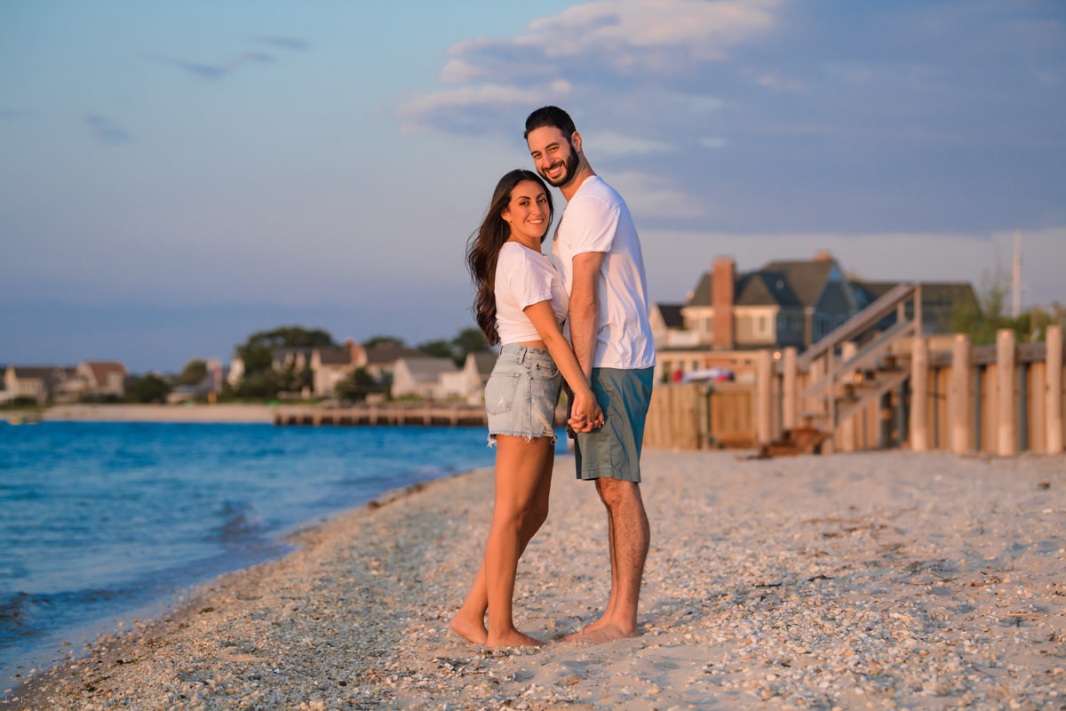 Hampton Bays Wedding Photographer. Romantic Couple portraits on beach.