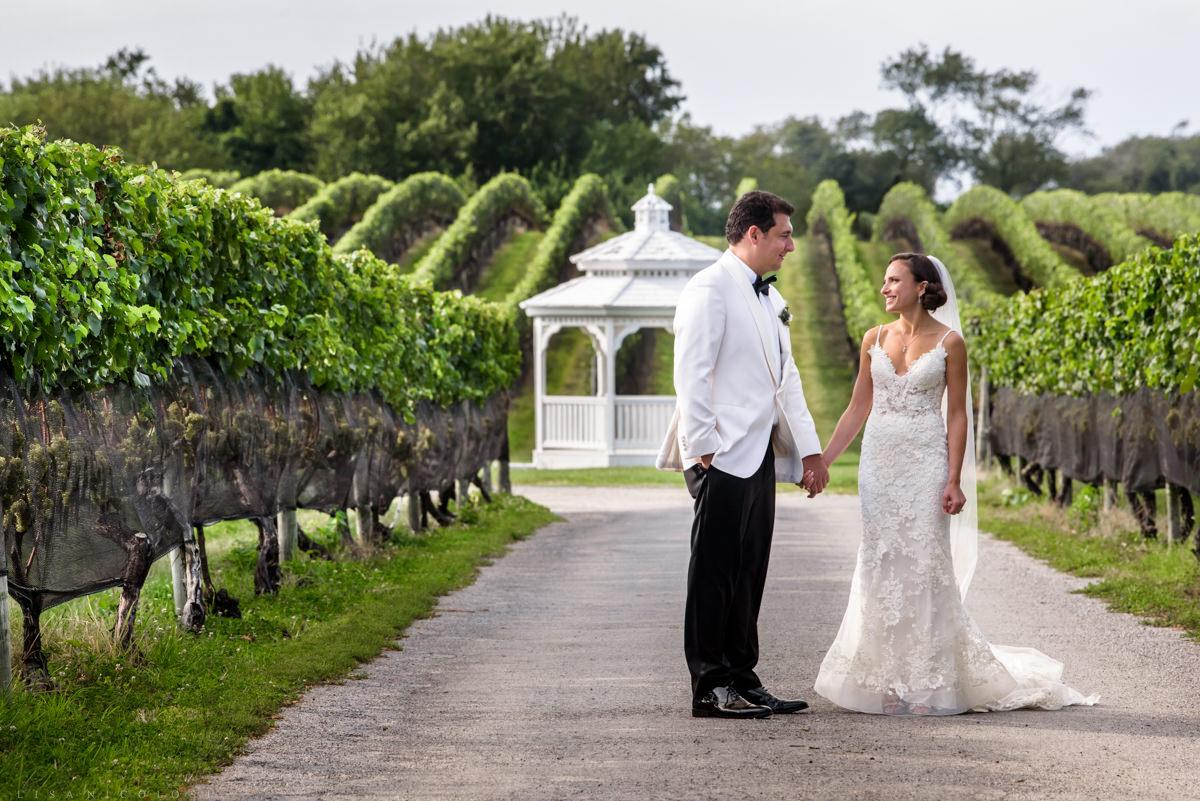 Romantic Bride and groom portrait at Pellegrini Vineyards