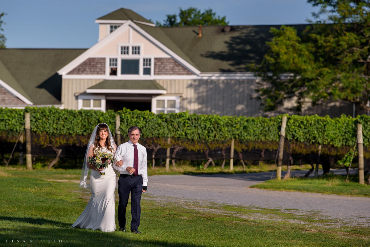 Wedding Ceremony at Pellegrini Vineyards - bride and groom processional