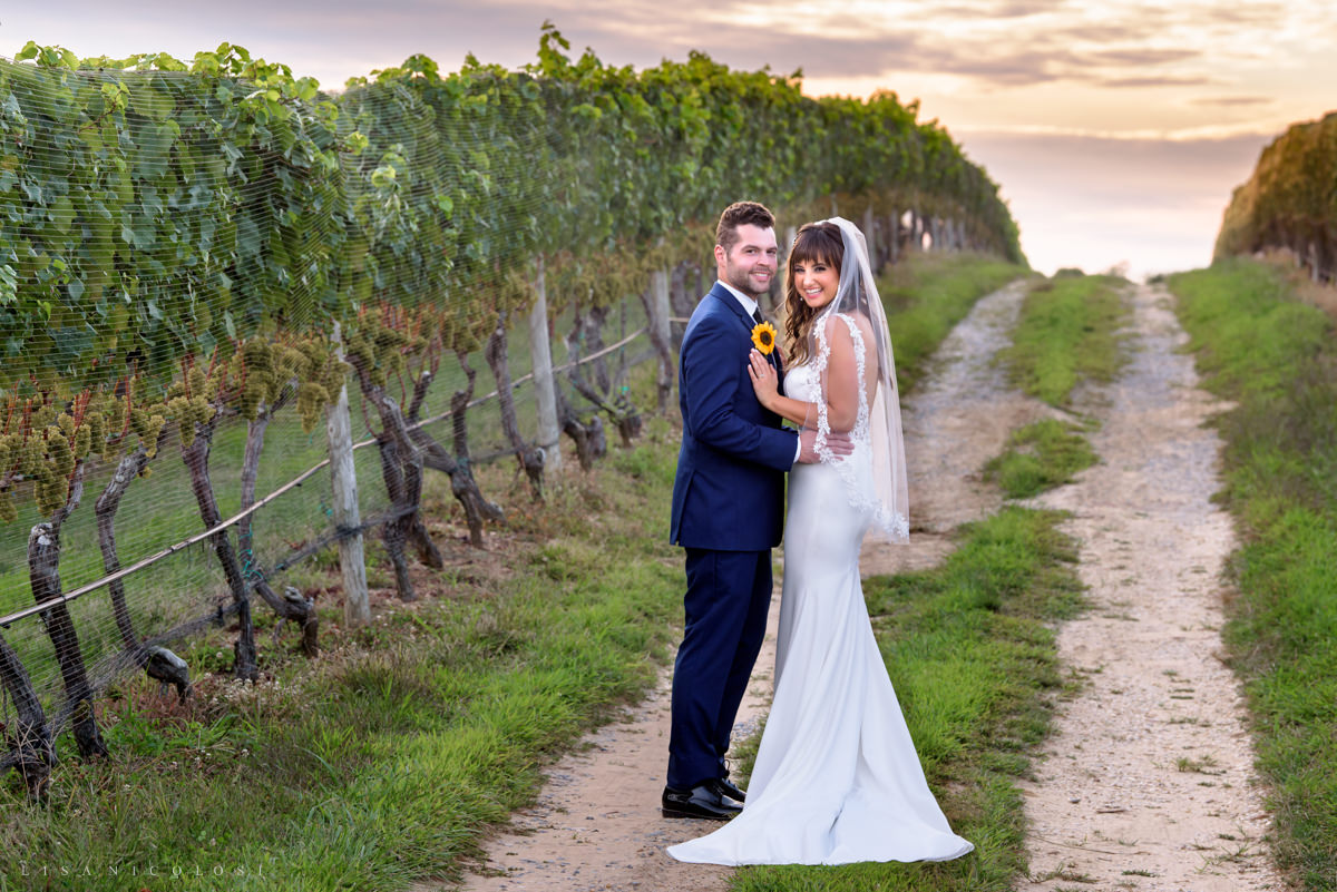 Romantic bride and groom wedding portrait at Pellegrini Vineyards