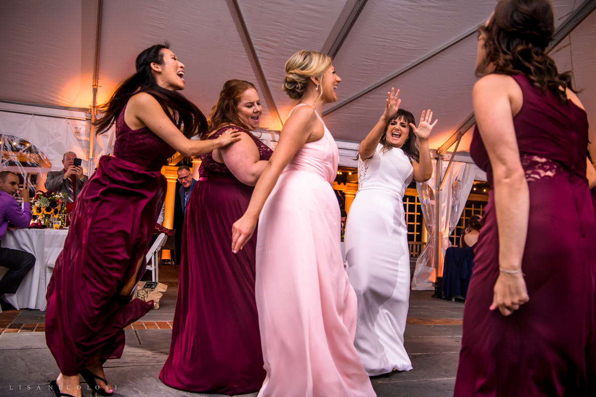 wedding guests dancing with bride at Pellegrini Vineyards