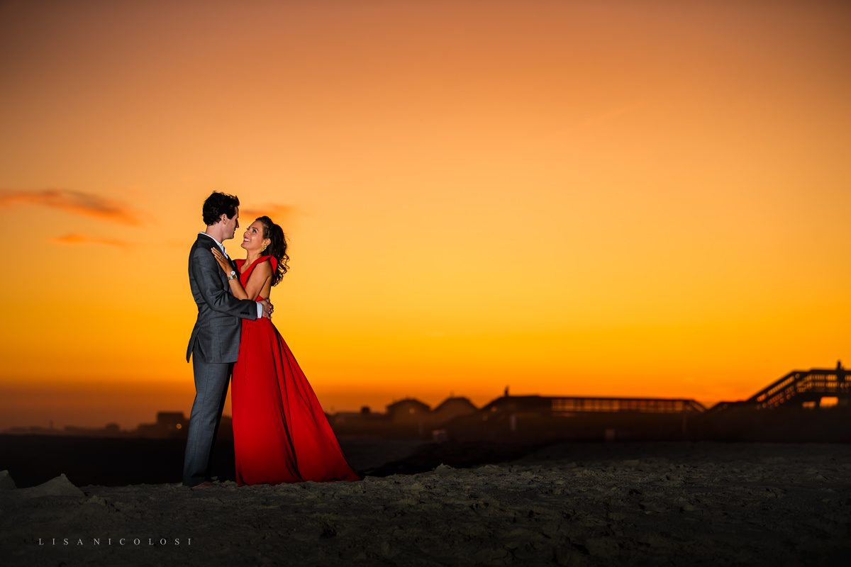Romantic Sunset Engagement Portrait on Ocean Beach, Fire Island