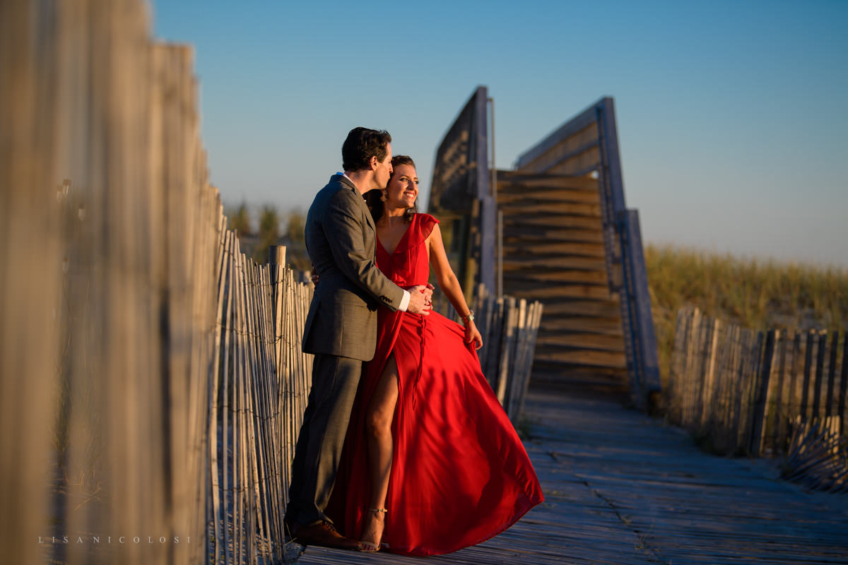 Fire Island Engagement Session - Ocean Beach - bride and groom at magic hour