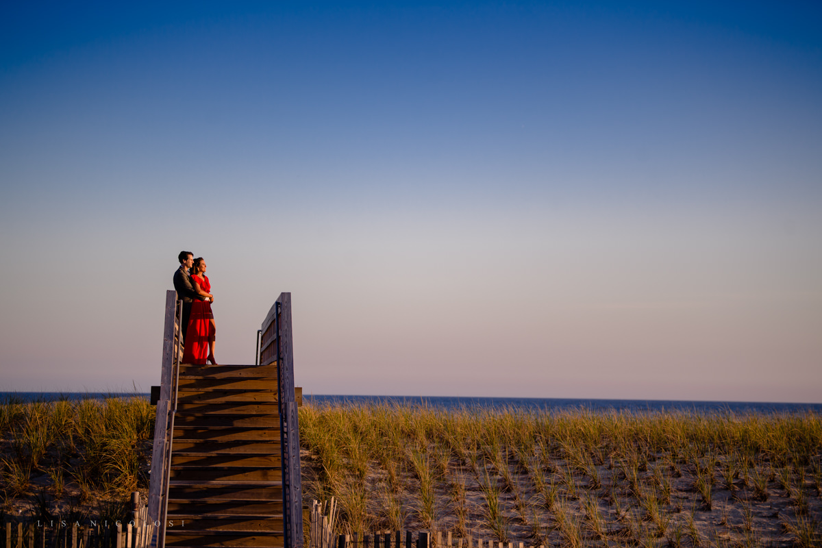 Fire Island Engagement Session - Ocean Beach - bride and groom portraits on stairs