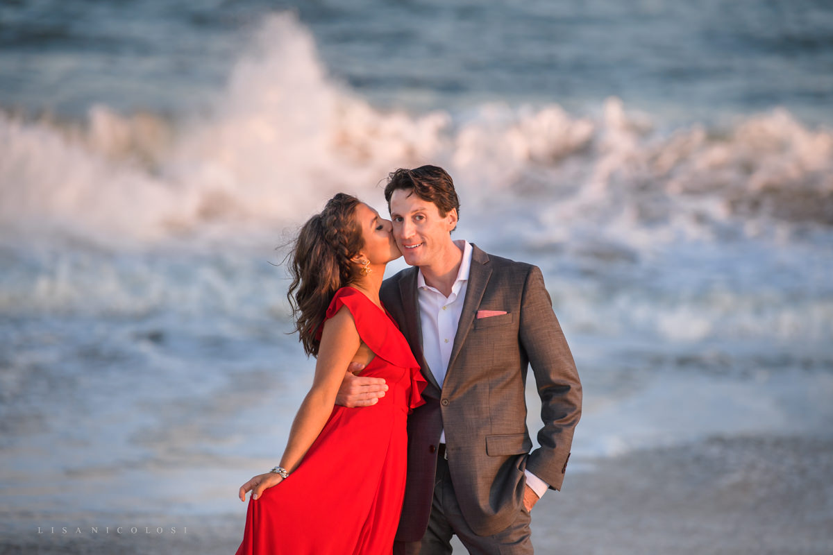 Fire Island Engagement Session - Ocean Beach - bride and groom to hugging on beach