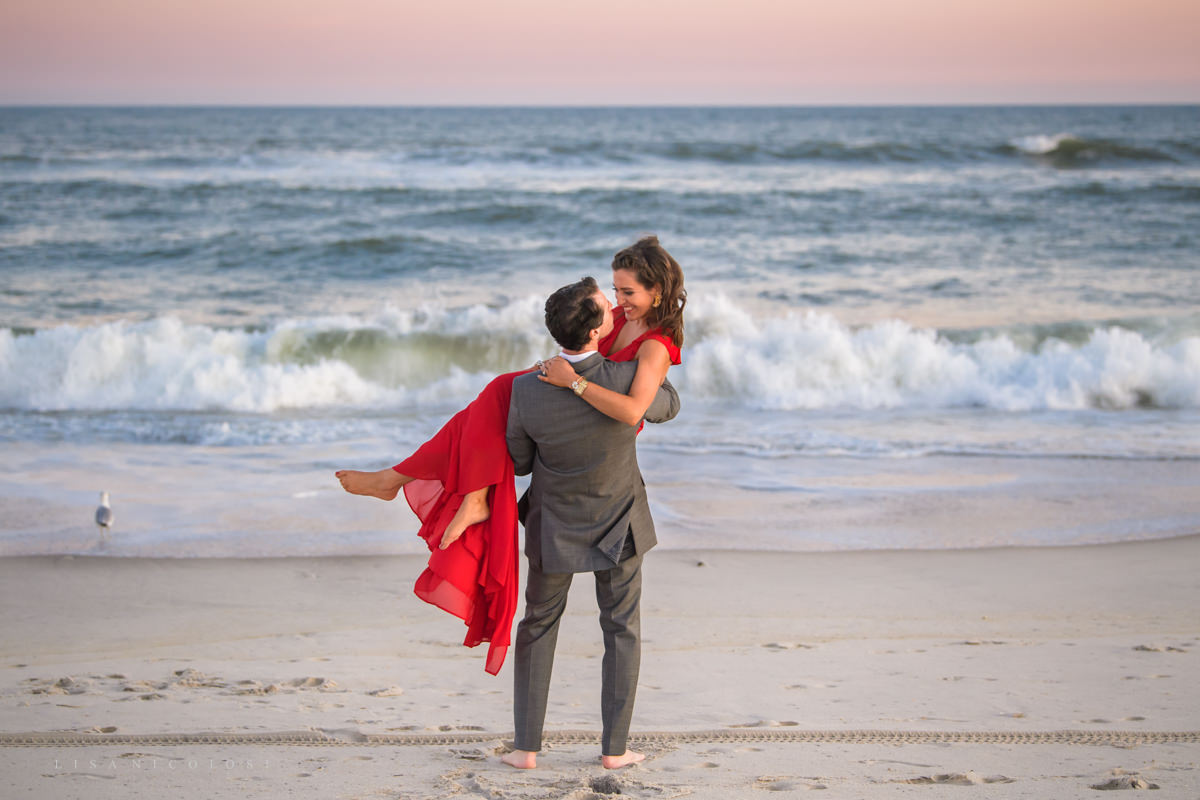 Fire Island Engagement Session - Ocean Beach - bride and groom to be dancing on beach