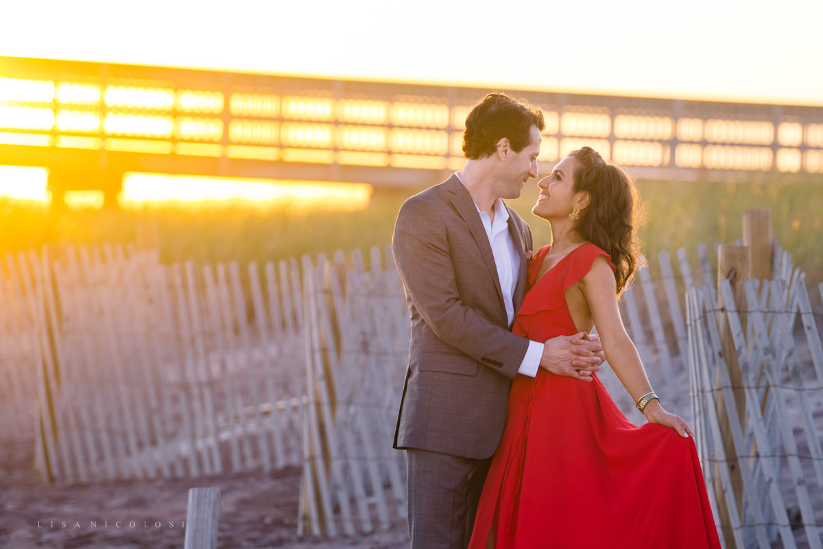 Fire Island Engagement Session - Ocean Beach sunset couple portraits
