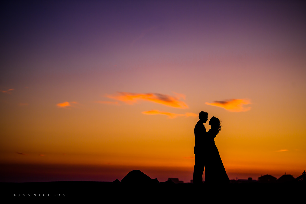 Fire Island Engagement Session - Ocean Beach - Silhouette Sunset on beach of bride and groom to be