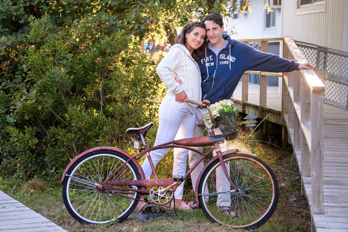 Fire Island Engagement Session - Ocean Beach - bride and groom with vintage bicycle