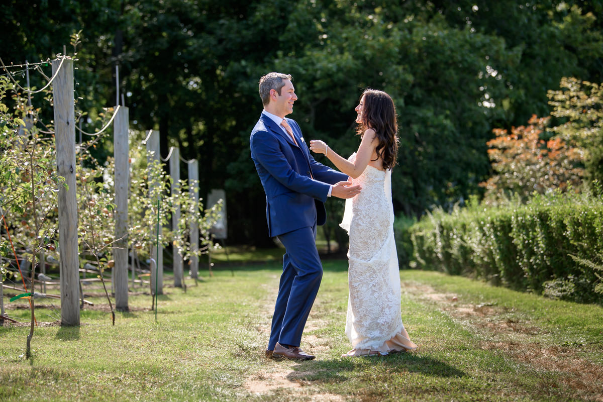 Jamesport Manor Inn Wedding - Bride and groom first look