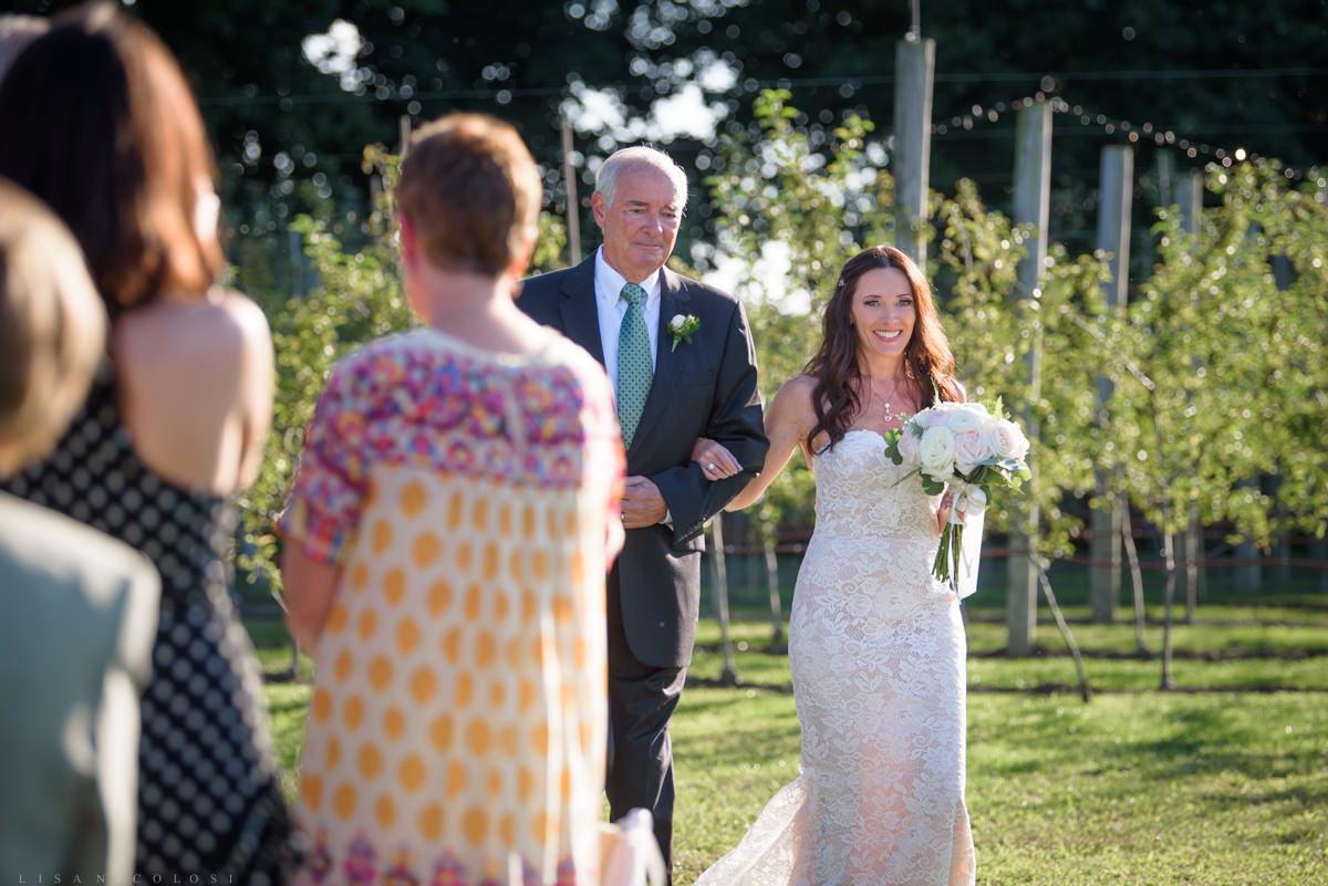 Jamesport Manor Inn Wedding Ceremony - Bride and her Dad