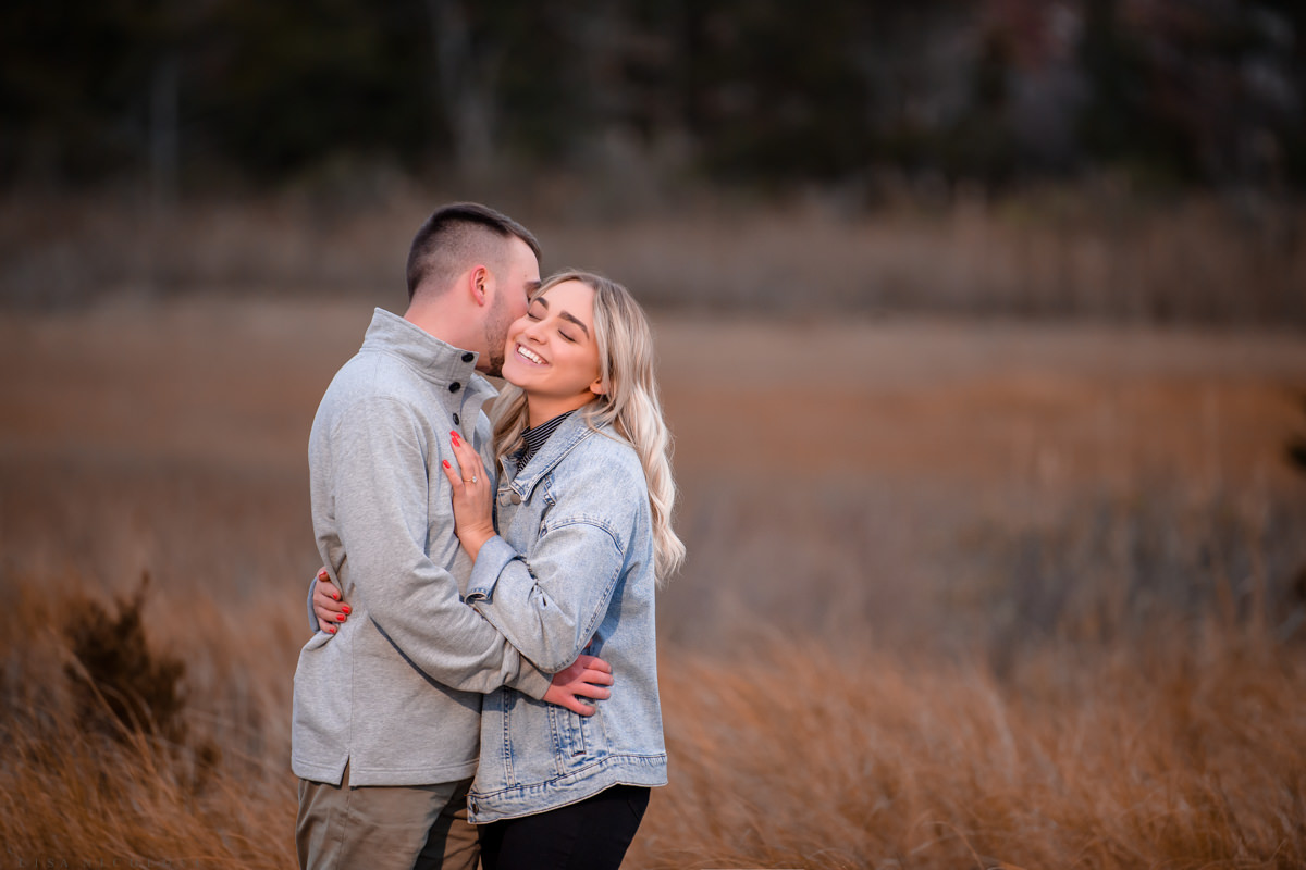 Romantic and happy engagement portraits in Hampton Bays - Surprise Proposal