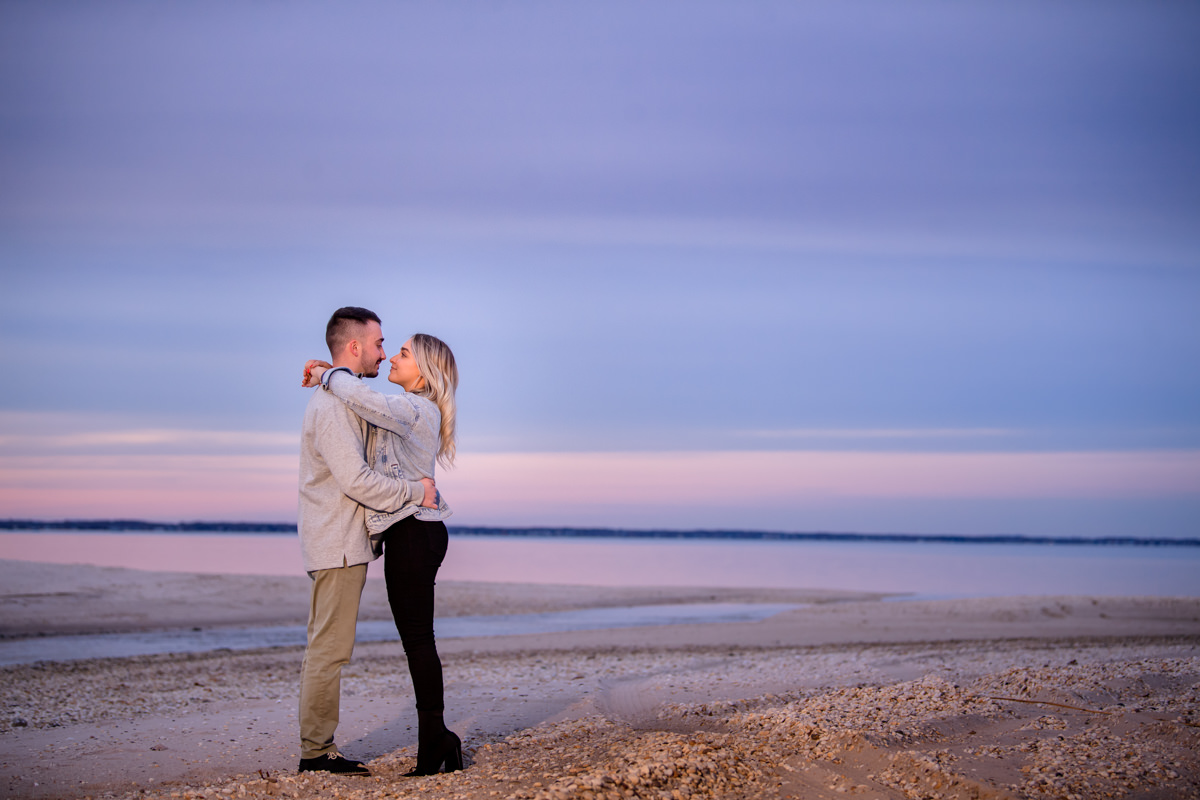 Romantic sunset engagement portrait in Hampton Bays - Surprise Proposal