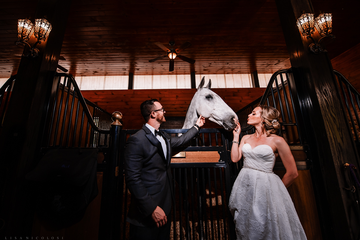 Elopement wedding portraits of bride and groom at Royalton Equestrian Farms in Mattituck