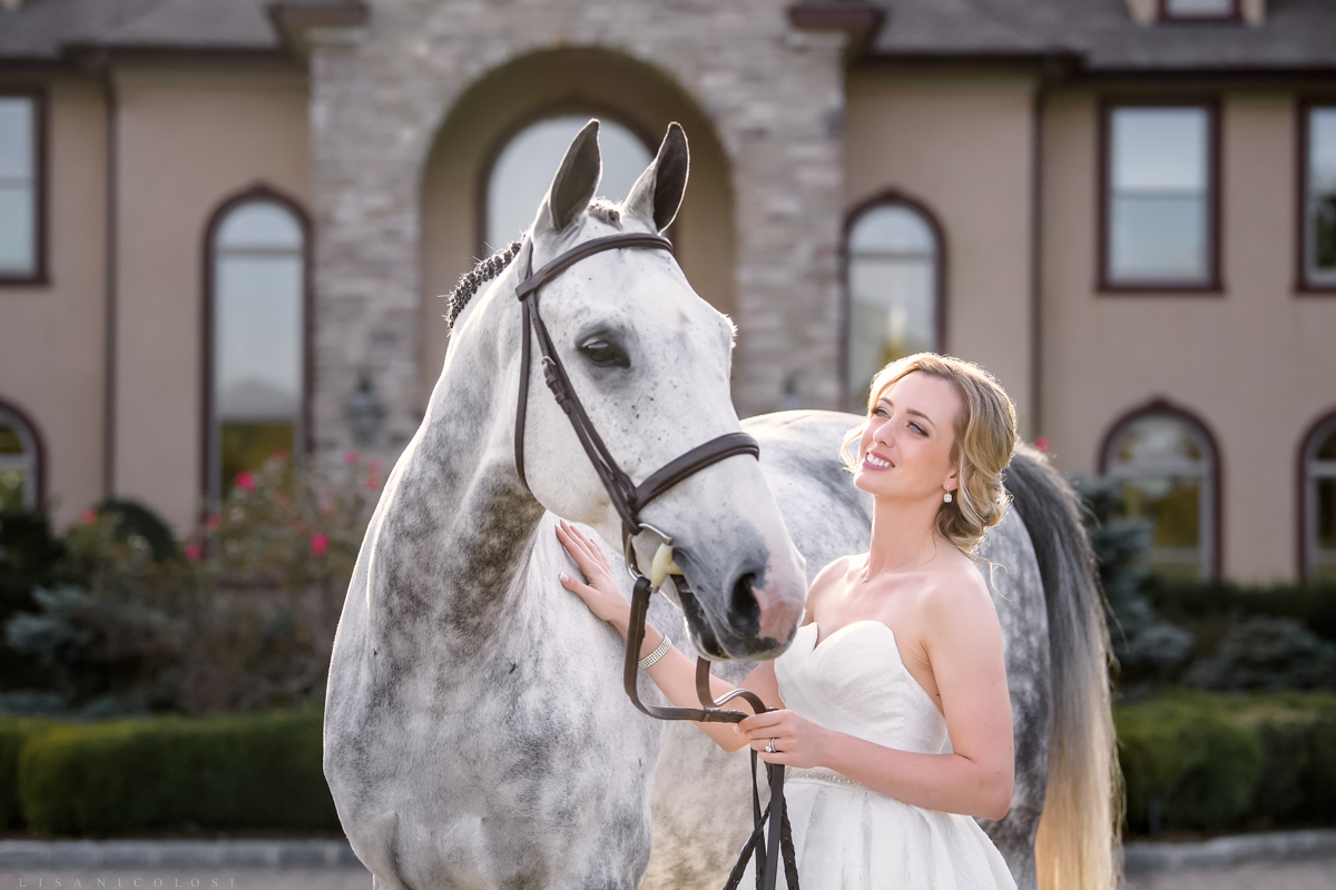 Wedding Portrait of bride and her horse on Mattituck Farm