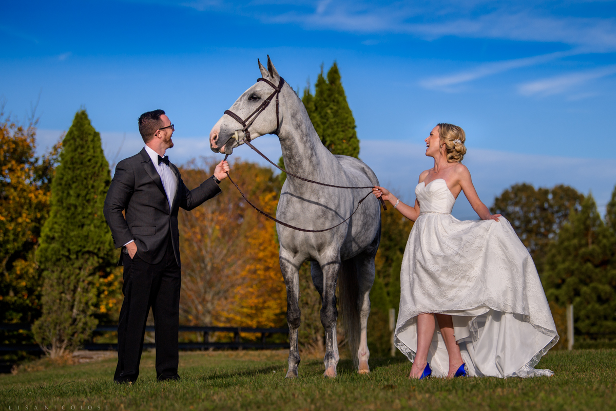Bride, groom and horse elopement wedding at Royalton Equestrian