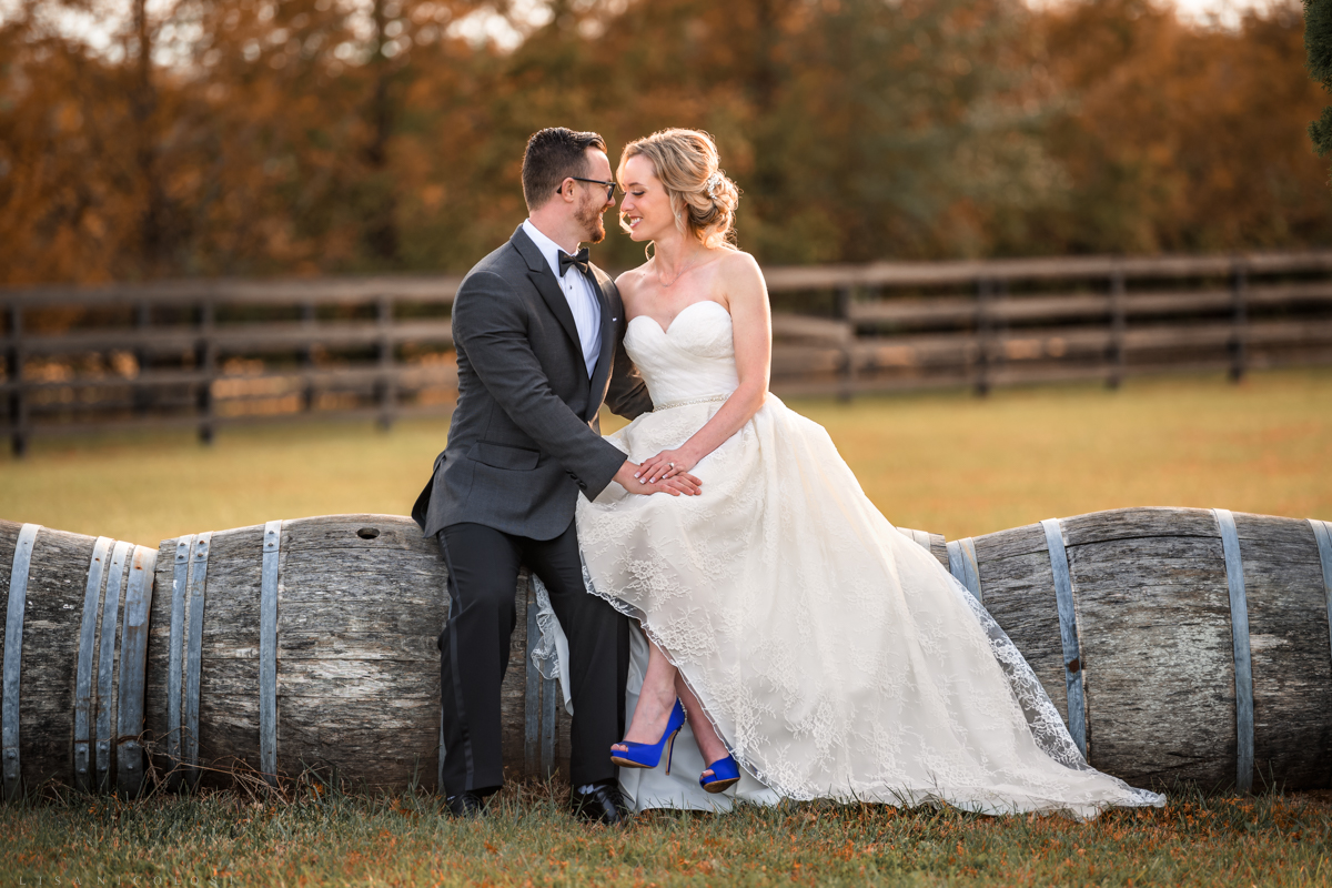 Romantic Elopement wedding portraits of bride and groom at Royalton Equestrian Farms in Mattituck