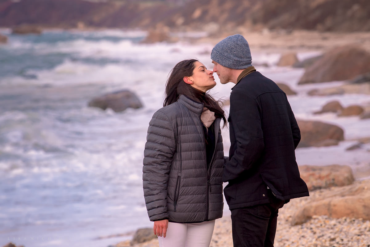 Greenport Proposal Photographer- Engagement photos on the 67 Steps Beach in Greenport NY