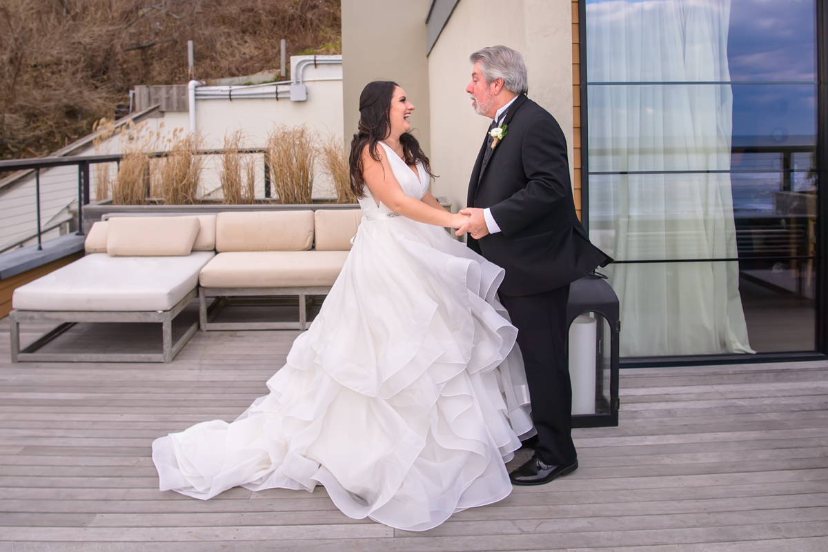 Gurney's Resort Wedding | Montauk Wedding Photographer - Father and Daughter first look