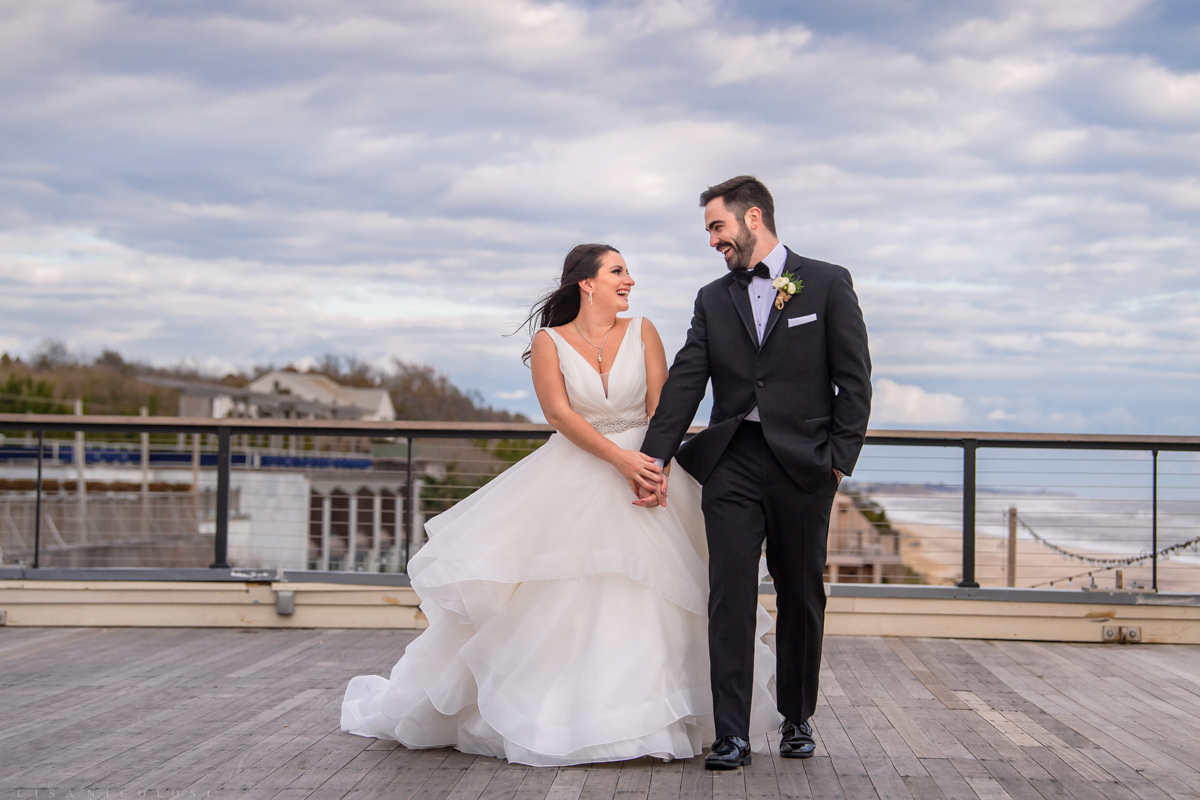 Gurney's Resort Wedding | Montauk Wedding Photographer - Bride and Groom walking