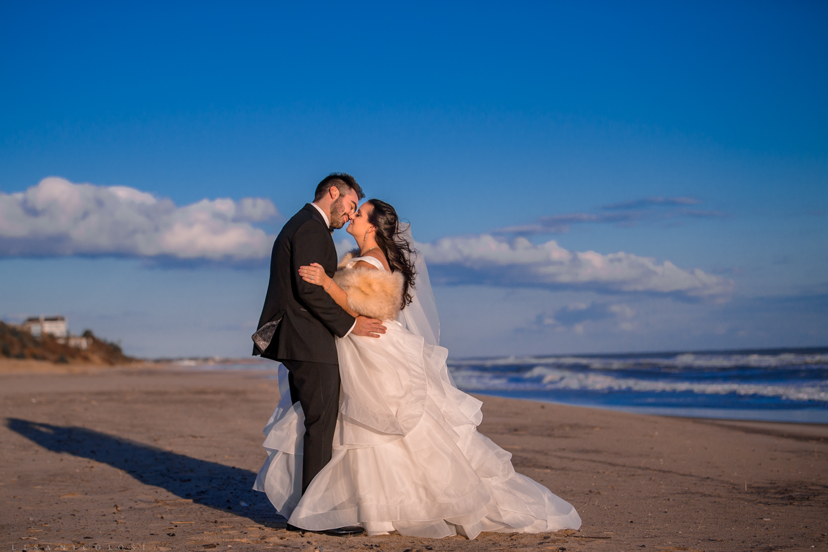 Gurney's Resort Wedding Photographer - Romantic Bride and Groom portraits on the beach
