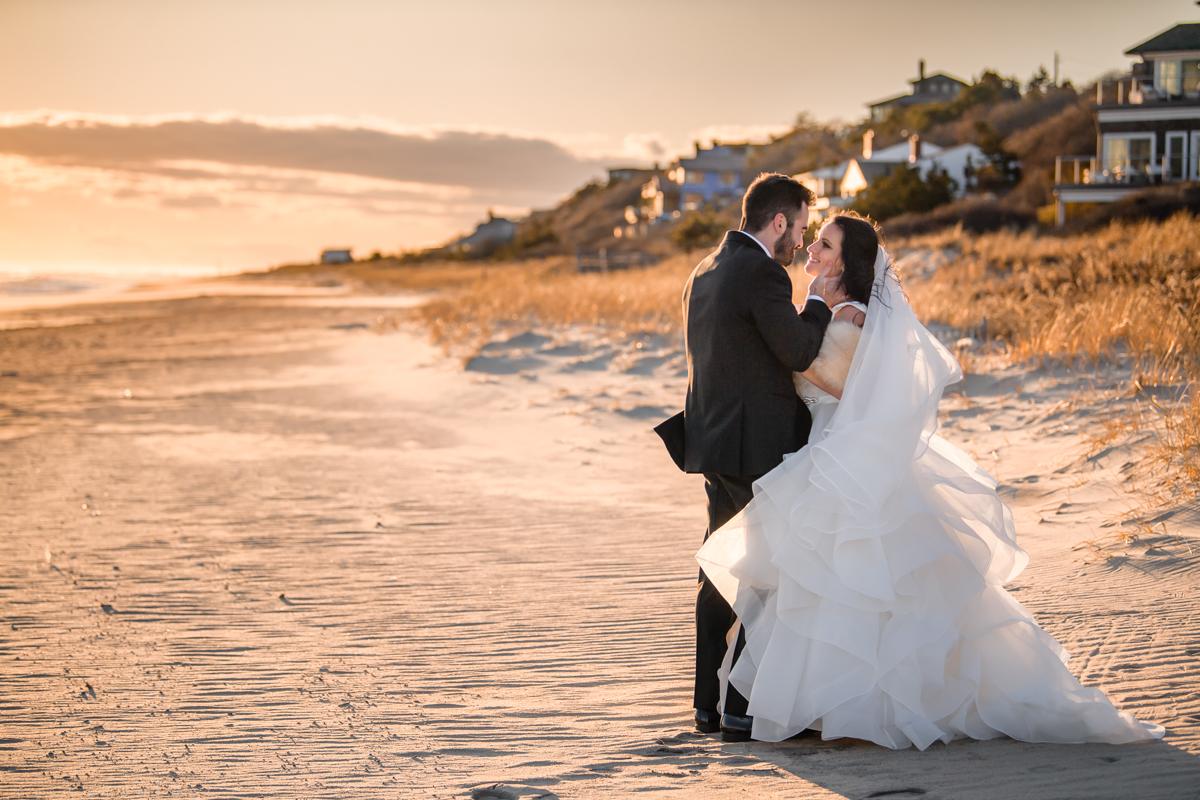 Gurney's Resort Wedding Photographer - Romantic Bride and Groom portraits on the beach